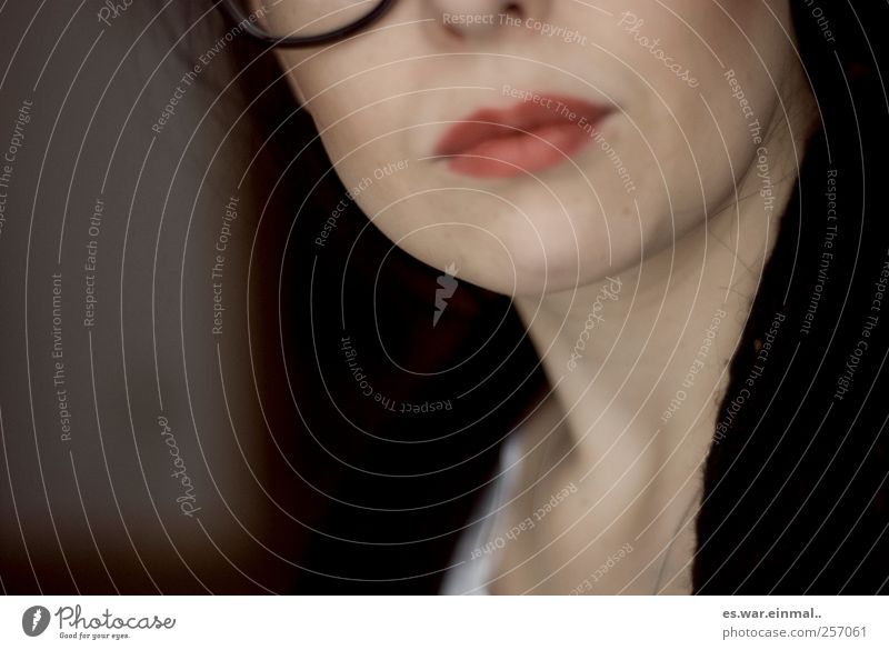 schlaue frau. Frau schön feminin Denken Mund Erfolg Brille Kommunizieren Lippen Bildausschnitt klug Anschnitt Lippenstift Brillenträger gelehrt geschminkt