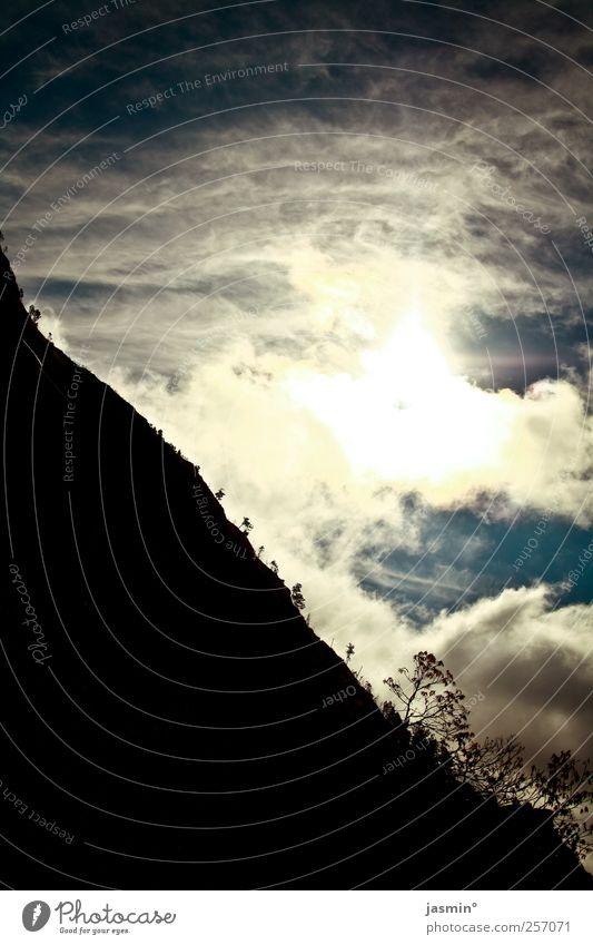 Shine on Umwelt Natur Landschaft Himmel Wolken Sonne Sonnenlicht Berge u. Gebirge dunkel hell Farbfoto mehrfarbig Dämmerung Licht Schatten Kontrast