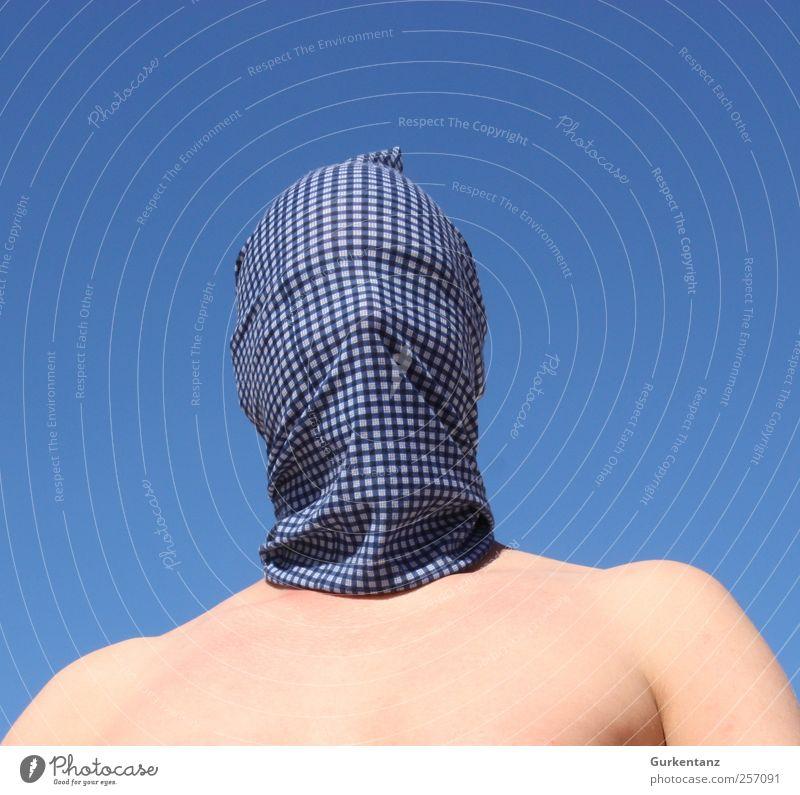 Blauhelm Mensch Himmel Mann blau Erwachsene maskulin Stoff Maske Brust Karneval kariert Helm Dieb blind verpackt Kopftuch
