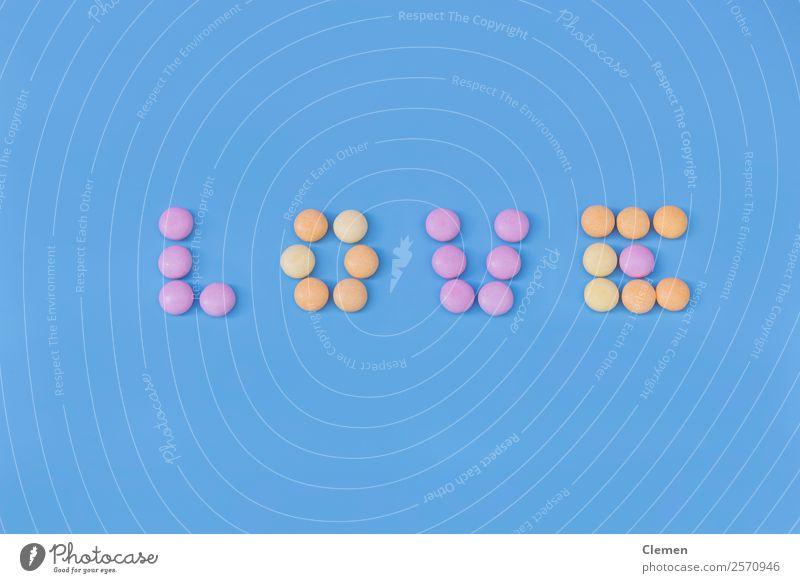 blau Essen Lebensmittel gelb Liebe Textfreiraum rosa süß Buchstaben lecker Tapete Zucker Valentinstag