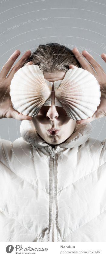 Mupfl Mensch feminin Stil lustig außergewöhnlich Maske Junge Frau Futurismus Muschel seltsam Witz Kussmund Spaßvogel Kunst Tier haltend