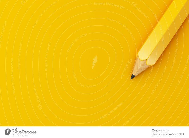3d Bleistift auf gelbem Hintergrund. Bildungskonzept. Design Schule Studium Arbeit & Erwerbstätigkeit Büro Business Werkzeug Kunst Accessoire Schreibstift Holz