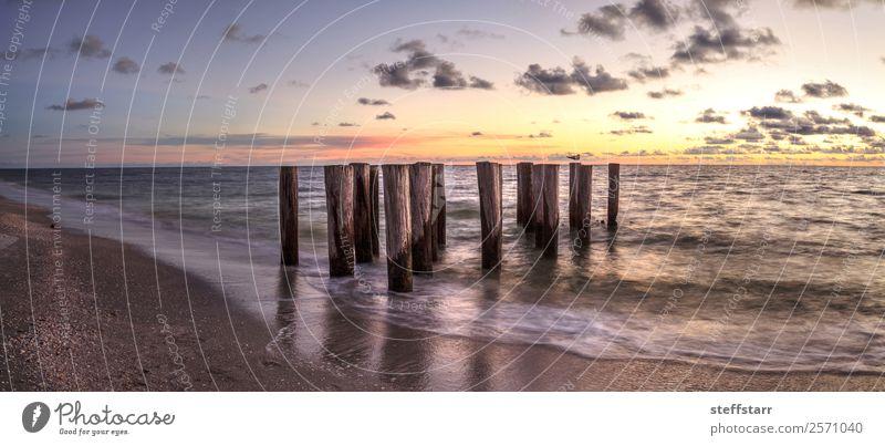 blau Landschaft Meer Wolken Strand gelb Küste Wellen Abenddämmerung Anlegestelle Ruine Florida Neapel Golf von Mexico