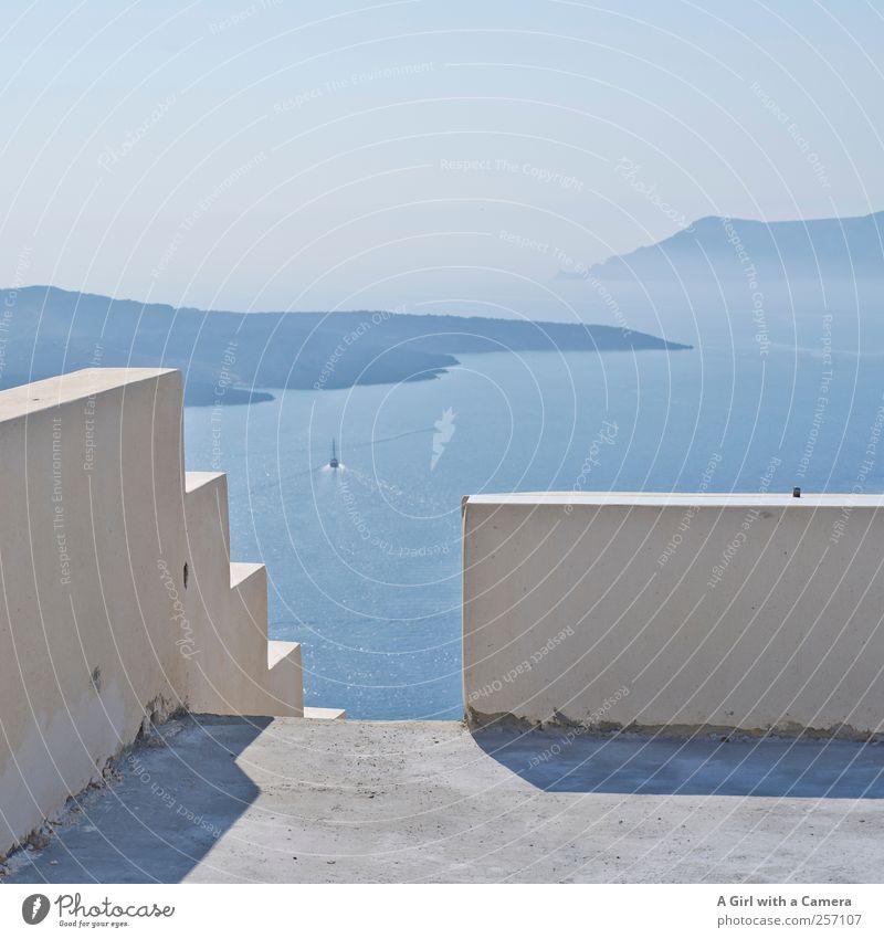 please take a step forward Himmel Natur weiß schön Sommer Wand Landschaft oben Küste Mauer Fassade natürlich hoch Treppe frisch Insel