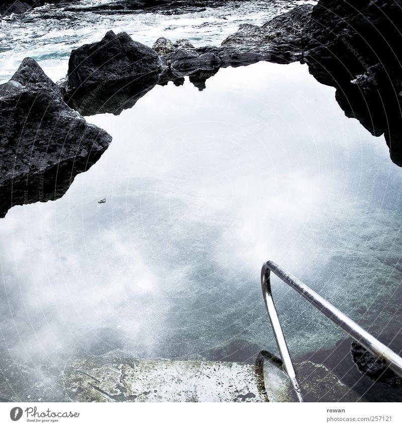 pool Wellness Leben Wohlgefühl ruhig Whirlpool Schwimmen & Baden Umwelt Natur Wasser Felsen Teich Bach Fluss Wasserfall blau Erholung Stein Glätte