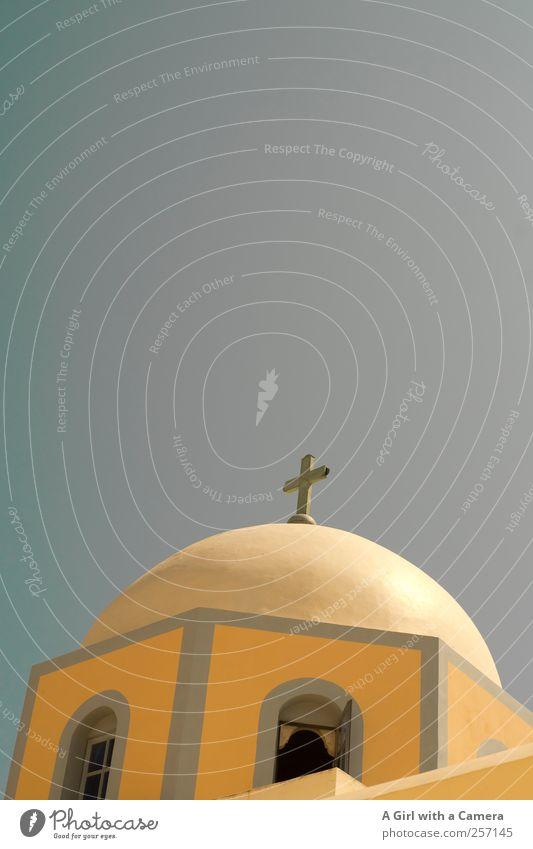 rund und schräg Himmel alt blau Sommer gelb Architektur Gebäude Religion & Glaube gold frisch Fröhlichkeit Kirche Bauwerk Kreuz Schönes Wetter