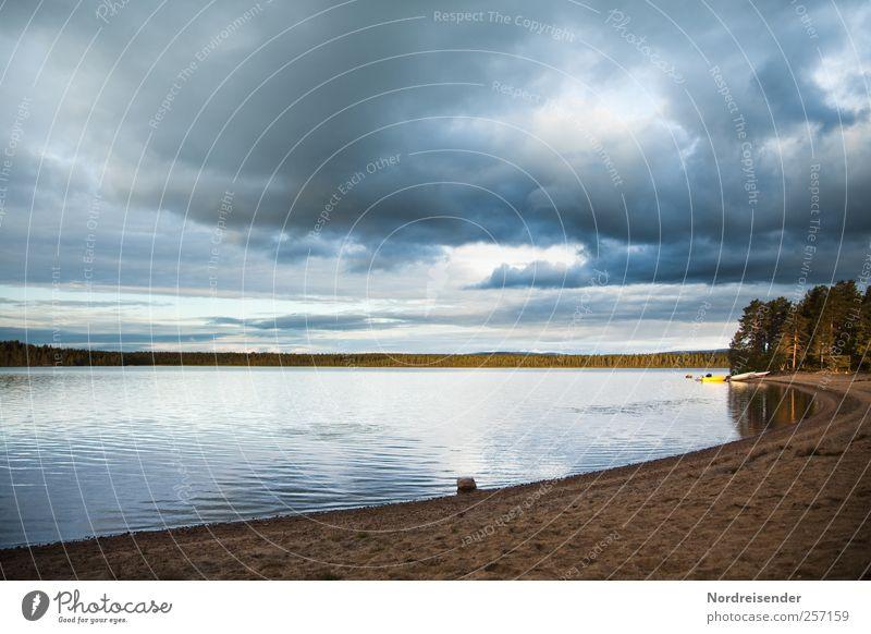 Kreissegment Lifestyle harmonisch Wohlgefühl Zufriedenheit Sinnesorgane Erholung ruhig Ferne Freiheit Landschaft Urelemente Wasser Wolken Seeufer Fischerboot