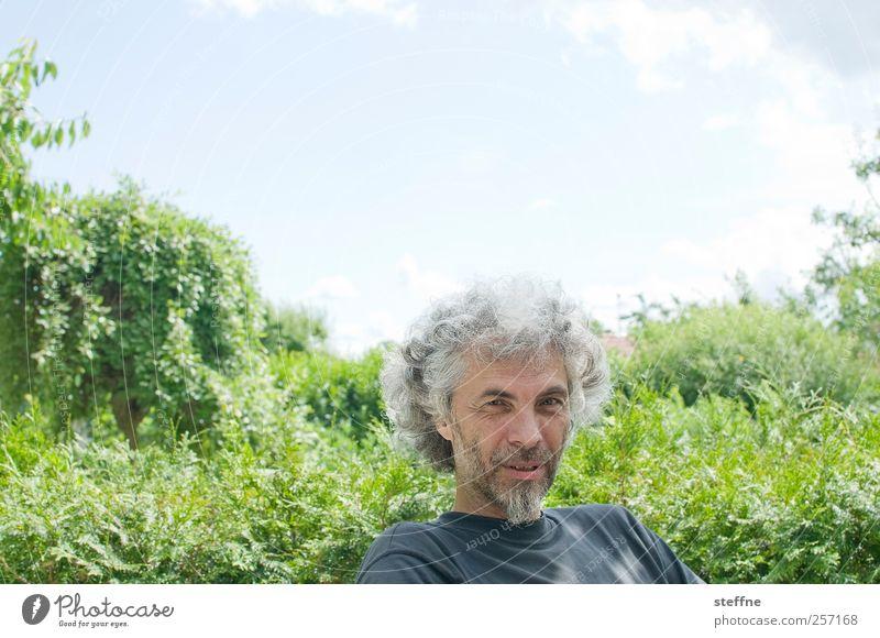 HAPPY BIRTHDAY/FIFTH ANNIVERSARY Mensch maskulin Mann Erwachsene Vater 1 45-60 Jahre Himmel Schönes Wetter Garten Park Erholung zählfred Farbfoto mehrfarbig