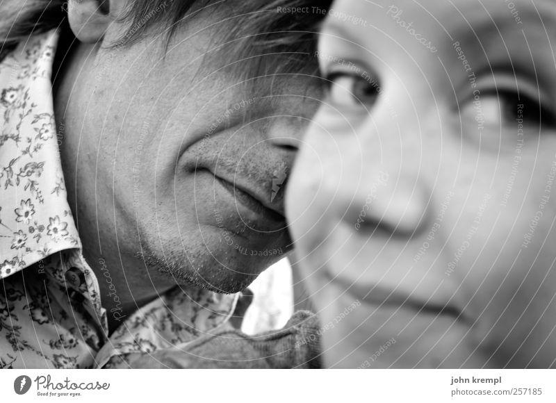 Der Pepeflüsterer feminin Junge Frau Jugendliche Mann Erwachsene Partner Gesicht 2 Mensch 18-30 Jahre 30-45 Jahre Lächeln sprechen Blick Freundlichkeit Glück