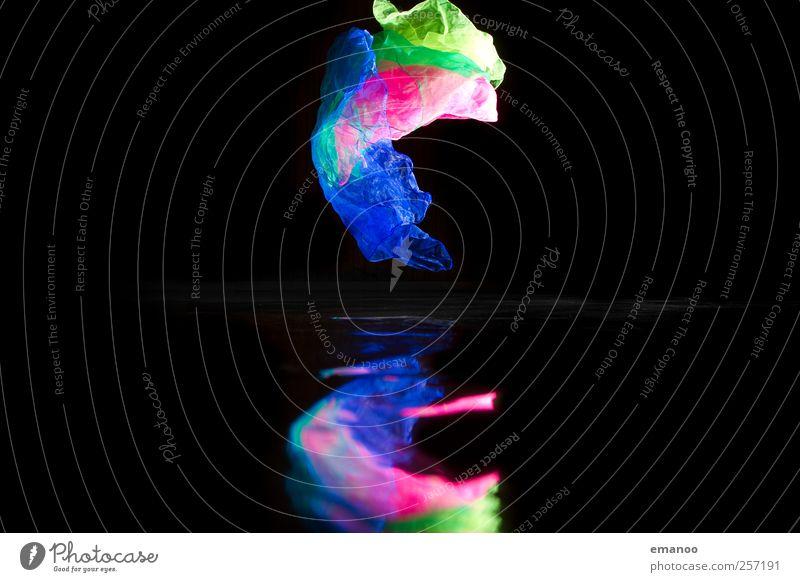 fliegende Farben blau grün Freude schwarz gelb Bewegung rosa leuchten Dekoration & Verzierung Stoff Fahne Kitsch Spielzeug Schweben werfen