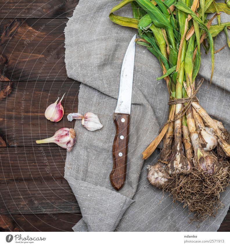 Bund junger Knoblauch Gemüse Kräuter & Gewürze Ernährung Essen Vegetarische Ernährung Natur Pflanze Blatt frisch groß natürlich grün weiß Gesundheit Ernte