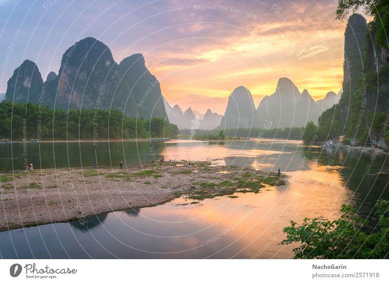 Erstaunlicher Sonnenuntergang in Xinping, Yangshuo, China Ferien & Urlaub & Reisen Tourismus Ausflug Abenteuer Berge u. Gebirge Umwelt Natur Landschaft Wasser