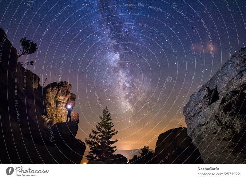 Beleuchtet von der Milchstraße Umwelt Natur Landschaft Erde Himmel nur Himmel Nachthimmel Stern Horizont Baum Felsen leuchten blau orange Milchstrasse Weltall