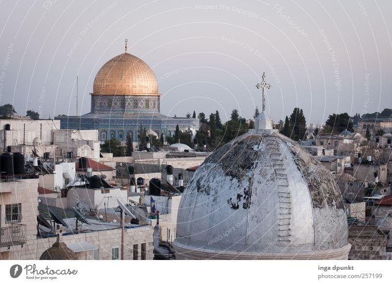 Frohe Weihnachten! Jerusalem Israel Naher und Mittlerer Osten Stadt bevölkert Kirche Dom Bauwerk Gebäude Dach Sehenswürdigkeit Denkmal Felsendom beobachten