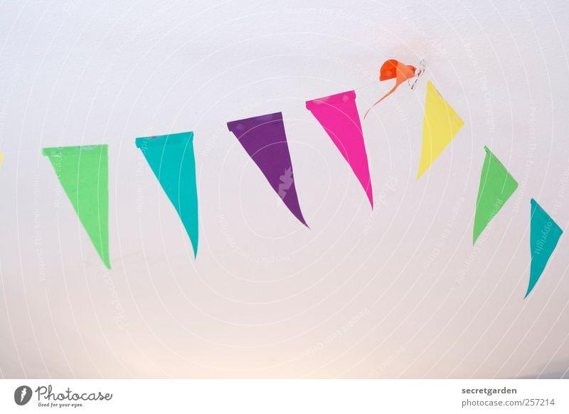 Schönes Fest euch allen! blau weiß grün Freude Haus gelb Feste & Feiern Raum Wohnung rosa Geburtstag Fröhlichkeit Häusliches Leben Papier