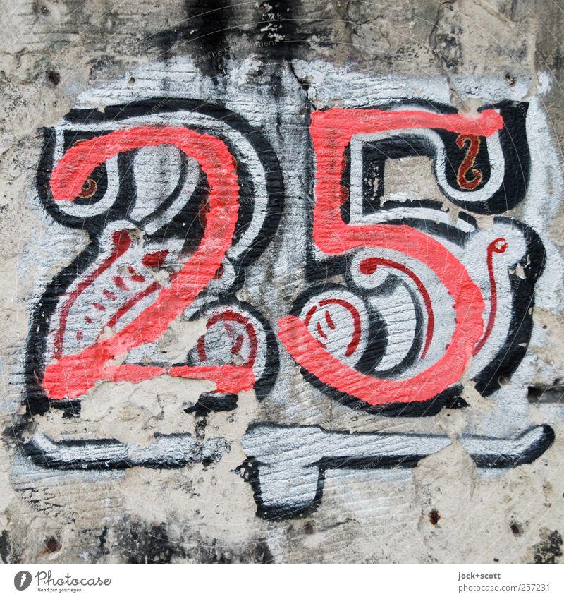 """Club """"25"""" Disco Kunst Mauer Zeichen Ziffern & Zahlen Ornament Graffiti grau rot Inspiration Wandel & Veränderung bemalt verziert unterstreichend verwittert"""