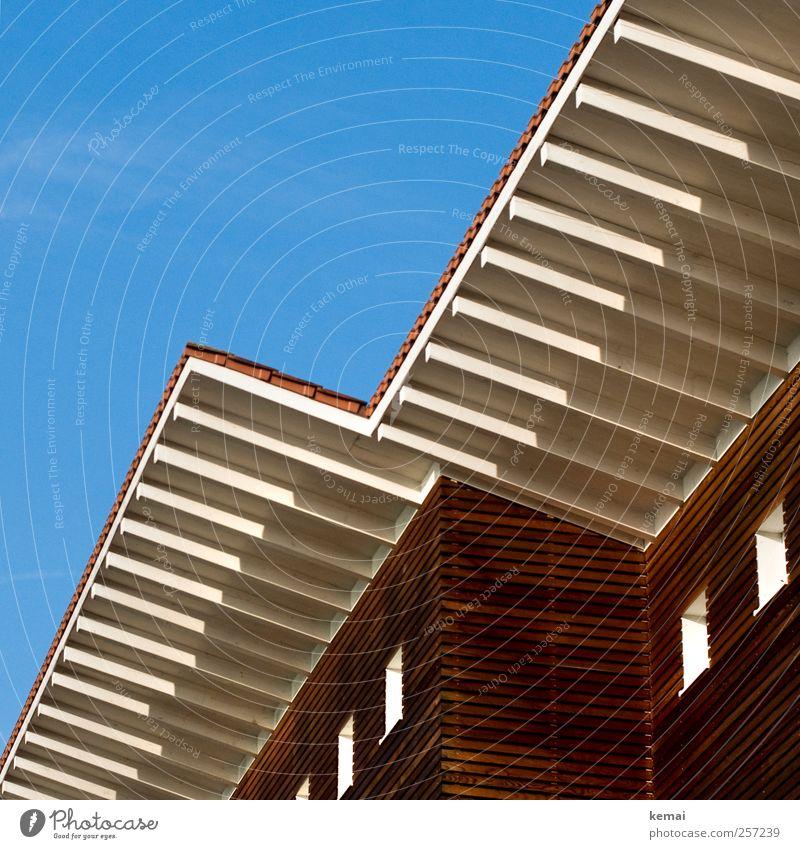Holzhaus Wolkenloser Himmel Sonne Sonnenlicht Herbst Schönes Wetter Einfamilienhaus Bauwerk Gebäude Architektur Fassade Fenster Dach Holzbrett Sauberkeit blau