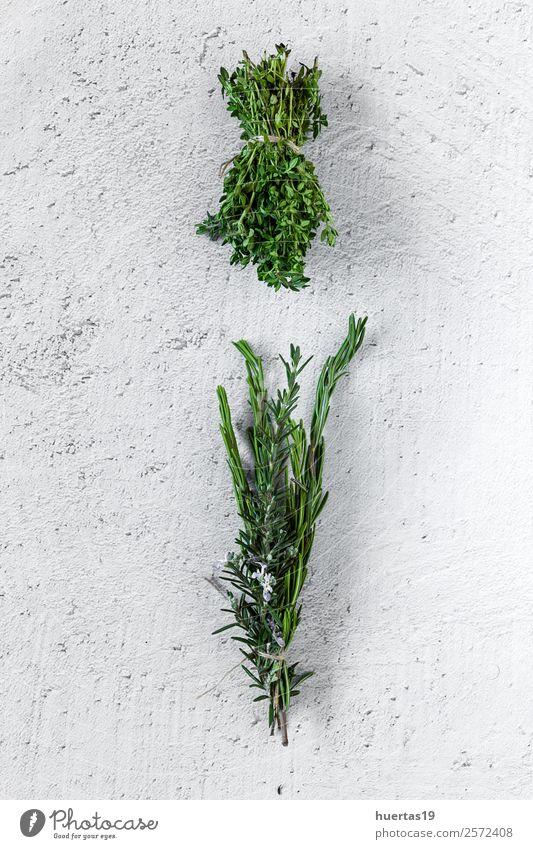 Aromatische Kräuter. Flache Verlegung. Lebensmittel Gemüse Kräuter & Gewürze Garten Kunst Pflanze frisch natürlich oben sauer grün Küchenkräuter Aromastoffe