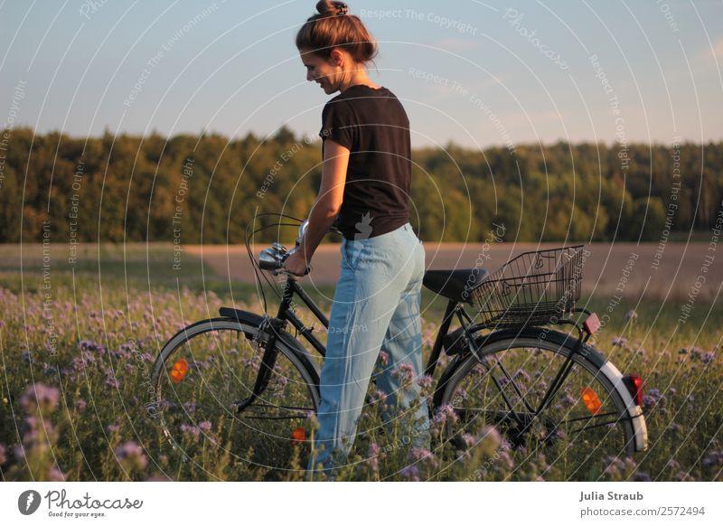 Fahrrad Feld Wald Frau Mensch Himmel Sommer schön grün Blume Erholung Erwachsene natürlich feminin Wiese Bewegung Gras Zufriedenheit