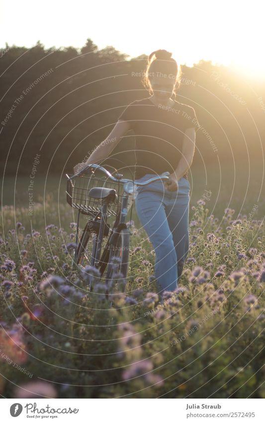 Sommer Sonne Frau Fahrrad Ausflug Fahrradtour feminin Erwachsene 1 Mensch Natur Blume phazelie Wiese Feld Wald T-Shirt Jeanshose brünett langhaarig Zopf