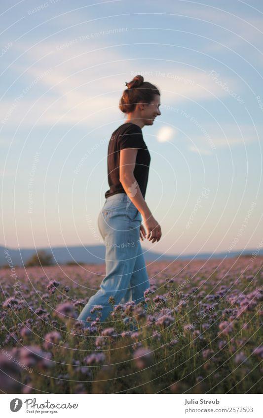 Blumenwiese Frau schön Himmel Wolken Sonnenaufgang Sonnenuntergang Sommer Schönes Wetter Pflanze Gras Wiese Feld T-Shirt Jeanshose brünett langhaarig Zopf