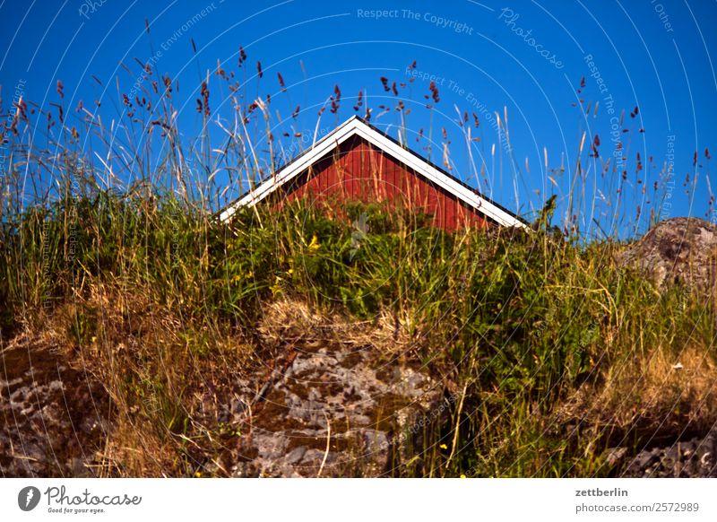 Giebel falunrot Felsen Ferien & Urlaub & Reisen Fischerhütte Haus Himmel Himmel (Jenseits) Holz Holzhaus Hütte kate Landschaft Lofoten maritim Natur nordisch