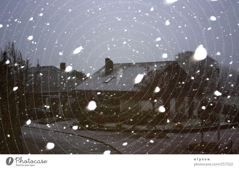 time to go home! Himmel weiß Winter schwarz Haus dunkel Schnee grau Schneefall