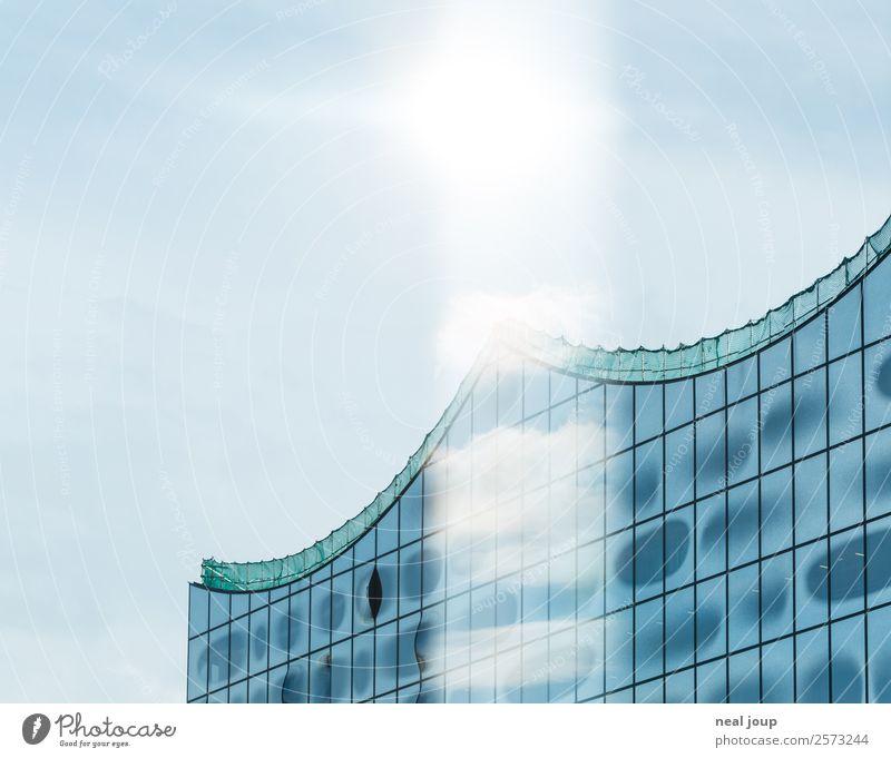 Elbphi Reflections -III- blau Wolken Ferne Architektur Kunst Fassade Horizont modern glänzend elegant Glas Kultur ästhetisch Kreativität Zukunft fantastisch