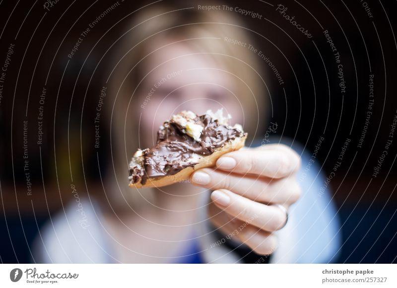 ...da haste was drauf Mensch Ernährung Essen braun süß Frühstück Brot Schokolade Brötchen Ekel ungesund Belegtes Brot Süßwaren Lebensmittel Genusssucht