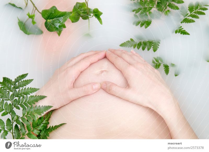 milchbadshooting Milchbadshooting schwanger schwangerschaftsshooting Efeu Blatt grün Frau feminin pregnant Babybauch Bauch Schwimmen & Baden Badewanne