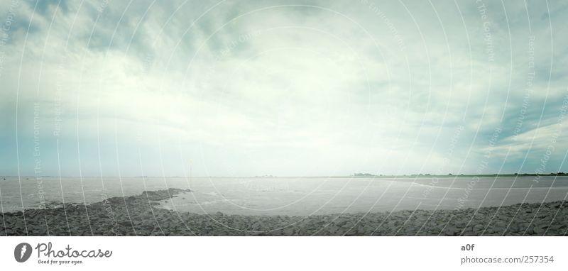 paradise Umwelt Landschaft Wasser Wolken Herbst Wetter schlechtes Wetter Wind Sturm Wellen Küste Strand Nordsee Meer Stein Sehnsucht Heimweh Enttäuschung