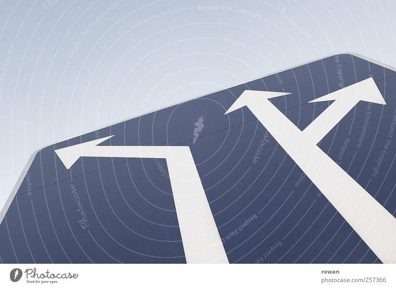 wegweisend Zeichen Schilder & Markierungen Hinweisschild Warnschild Verkehrszeichen blau Bewegung Ferien & Urlaub & Reisen Teamwork Güterverkehr & Logistik