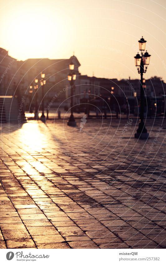 Sonnen-Promenade. Kunst ästhetisch Ferne Hoffnung Einsamkeit Venedig Dämmerung Veneto Italien Hafenstadt Städtereise Fernweh Stadt Romantik Traurigkeit Laterne