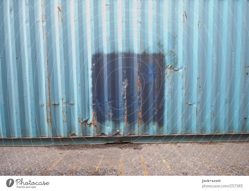 Hamburger Hafen als Quadrat blau Einsamkeit hell Linie Metall Zusammensein modern ästhetisch Beton Streifen Pause Kontakt fest Rost Quadrat Meinung
