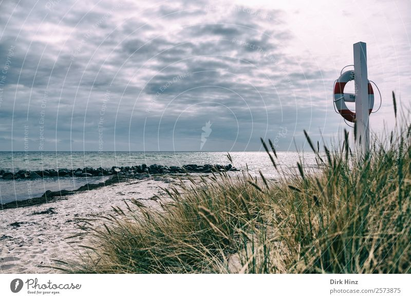 Badestrand mit Rettungsring bei Marstal / Dänemark Ferien & Urlaub & Reisen Tourismus Ausflug Ferne Freiheit Sommer Sommerurlaub Strand Meer Insel Wellen Wolken