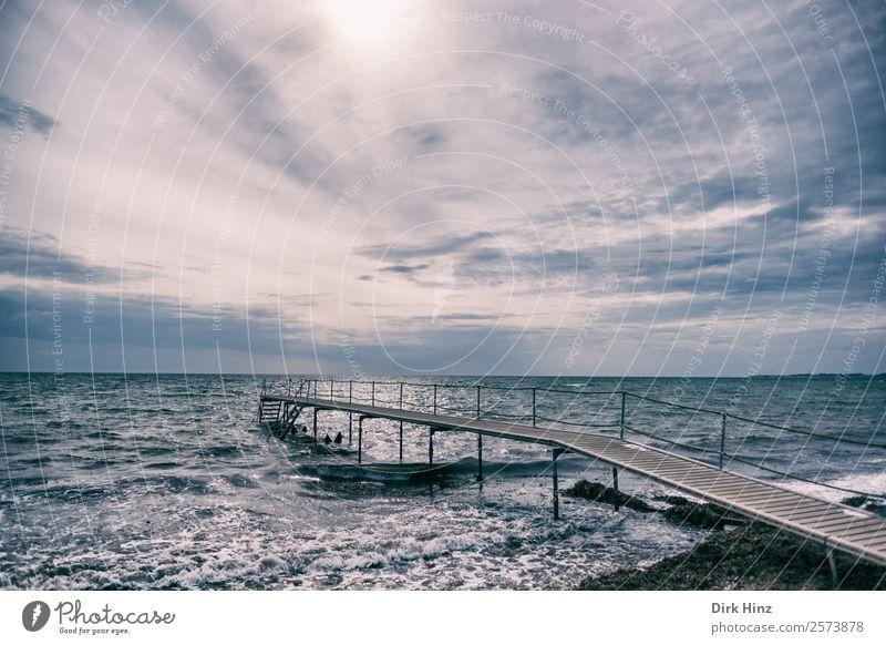 Badesteg bei Marstal auf der dänischen Insel Aerö Ferien & Urlaub & Reisen Umwelt Natur Landschaft Urelemente Wasser Himmel Wolken Horizont Wetter Wellen Küste