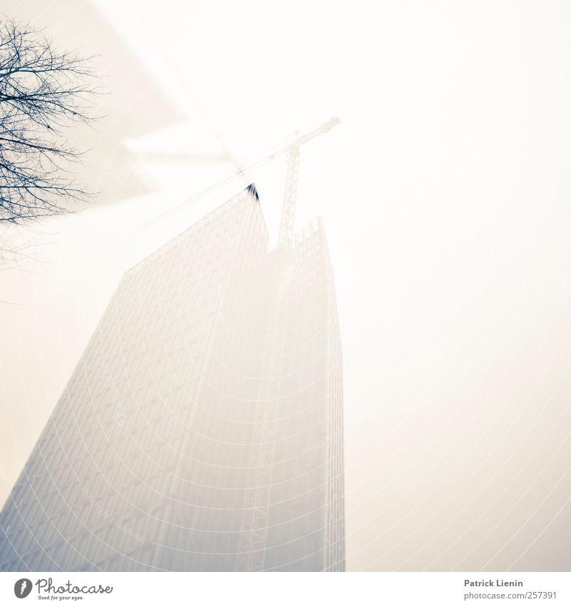 In der Großstadt Umwelt Natur Wetter schlechtes Wetter Nebel Stadt Hochhaus Bankgebäude Bauwerk Gebäude Architektur hoch ästhetisch Handel Kommunizieren komplex