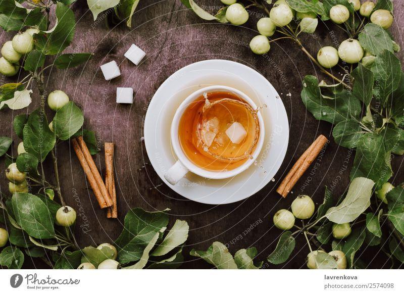 Flatlay mit einer Tasse warmem Tee, Apfelbaumäste platschen gemütlich Wärme Getränk Würfelzucker Ernte reif Ast Zimt natürlich Gesunde Ernährung frisch