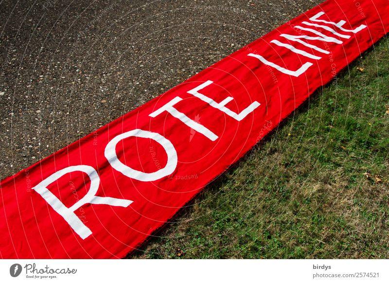 Grenzen setzen rot Linie Schriftzeichen Kraft Schilder & Markierungen authentisch gefährlich groß einzigartig Hinweisschild bedrohlich Zeichen Schutz Ende