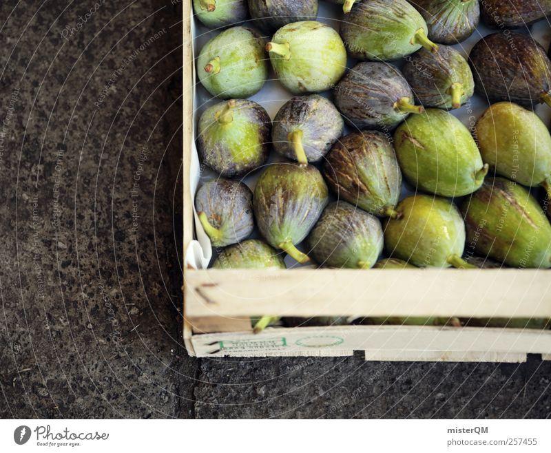 Feige? Kunst ästhetisch viele Gesundheit Markt Markttag Kiste Angebot mediterran kulinarisch lecker Appetit & Hunger reif grün Boden exotisch Lebensmittel