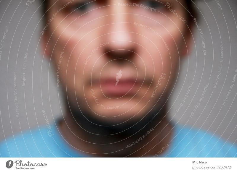 simple man Haut maskulin Mann Erwachsene Kopf Gesicht Nase Mund 1 Mensch 30-45 Jahre Blick Schutz Müdigkeit Unlust Angst Schüchternheit authentisch Stimmung