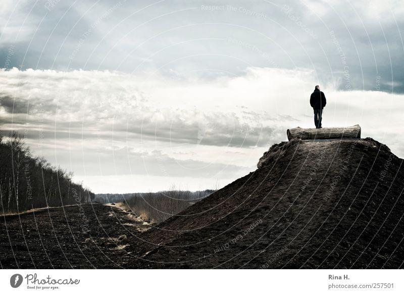 Aussicht Mensch maskulin Mann Erwachsene 1 Umwelt Natur Landschaft Himmel Wolken Horizont Herbst Winter Klima Wetter Moor Sumpf Himmelmoor beobachten Blick