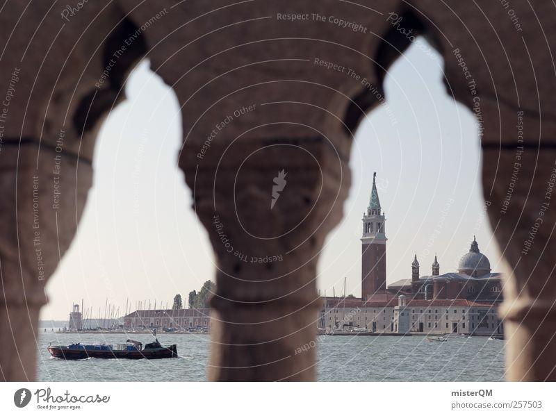 Venecian Perspective I Stadt Ferien & Urlaub & Reisen Meer Kunst Wasserfahrzeug Insel ästhetisch Perspektive Turm Kultur Italien fantastisch Brückengeländer