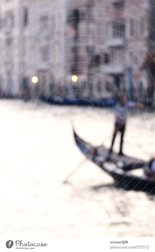 Romantico. Kunst Kunstwerk Gemälde ästhetisch Aquarell Surrealismus künstlich falsch traumhaft Venedig Veneto Canal Grande Gondel (Boot) Gondoliere Kanal
