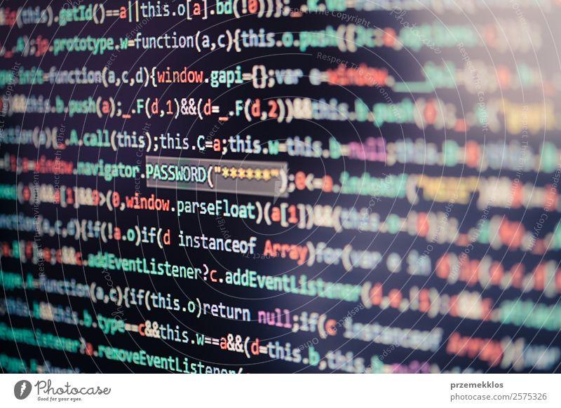 Computerbildschirm mit Anzeige des Programmcodes Beruf Telekommunikation sprechen Notebook Bildschirm Software Technik & Technologie High-Tech