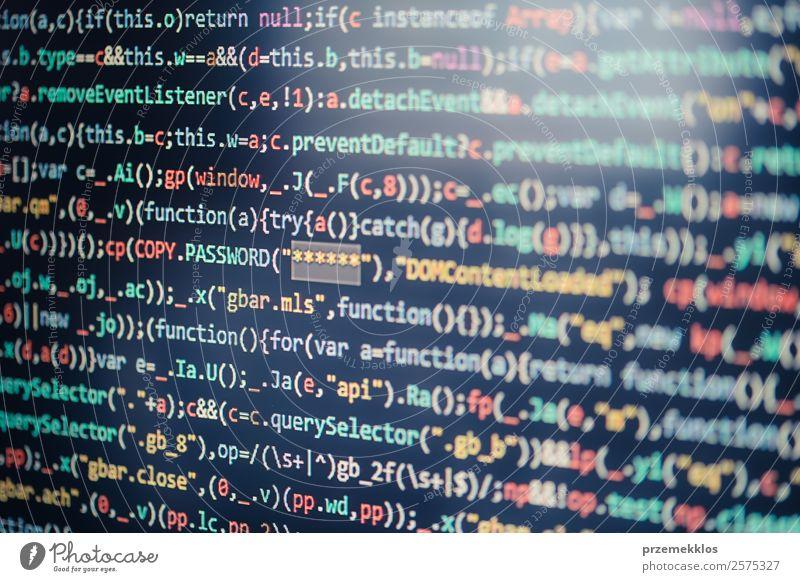 Computerbildschirm mit Anzeige des Programmcodes Beruf Notebook Bildschirm Software Technik & Technologie High-Tech Telekommunikation Informationstechnologie