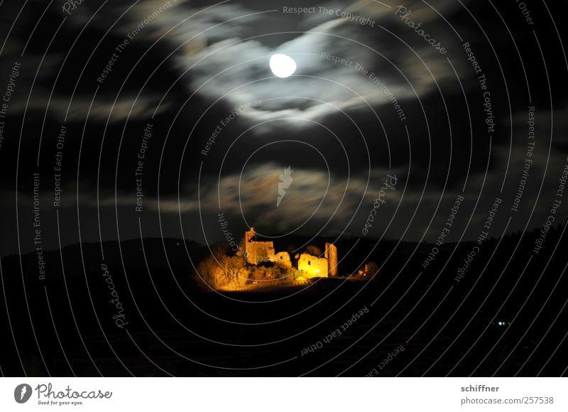 Exklusiv-Scheinwerfer Ruine Mauer Wand Sehenswürdigkeit Denkmal historisch Burgruine Mond Mondschein Mondaufgang Nachthimmel Nachtaufnahme Nachtlicht Wolken