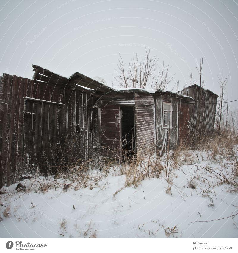 bretterbuden Hütte alt Armut hässlich Holz Schneefall Winter kaputt Wohnung Garage Haus Neigung Gedeckte Farben Menschenleer Textfreiraum oben