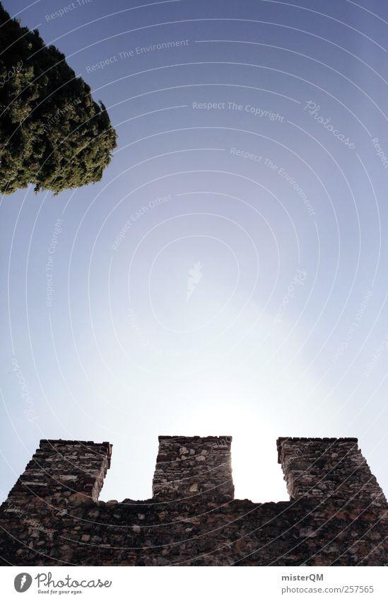 My Home Is My Castle. Mauer Kunst ästhetisch Turm Burg oder Schloss Aussicht Märchen Symmetrie Gotik klassisch himmelblau Defensive minimalistisch Mittelalter