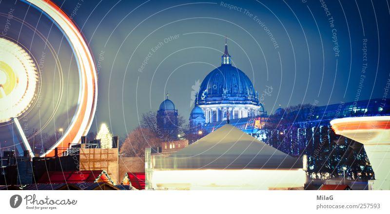 Nachtlichter Weihnachten & Advent blau Freude Tourismus Kultur Vergänglichkeit Jahrmarkt Veranstaltung Stadtzentrum Hauptstadt Dom Sehenswürdigkeit Riesenrad